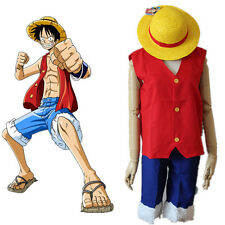 COSTUME COSPLAY ONE PIECE MONKEY D RUFY LUFFY RUBBER (SENZA CAPPELLO)