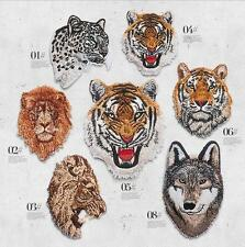 Tiger Lion Wolf Patchs Applique Embroidered Iron on Sewing on Badge Dress Motifs