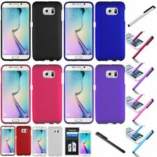 For Samsung Galaxy S6 Edge Rubberized Plastic Hard Ultra Slim Case+Fil