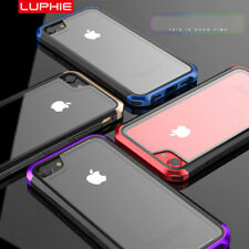 Luphie Metal Frame PC Bumper+ Back Tempered Glass Case Cover For iPhon