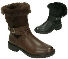 WOMENS LADIES ANKLE BOOTS FAUX FUR LINED BUCKLE COWBOY SHORT BOOTS WARM SHOES