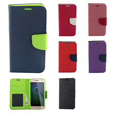 For Motorola Moto G5 PLUS Leather Wallet Case Pouch Flip Cover + Scree