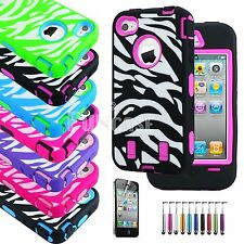 For iPhone 4 4S Shockproof Zebra Rubber Matte Rugged Screen Film Hard