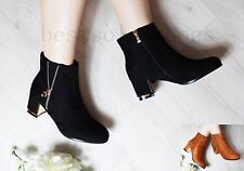 LADIES WOMEN' ZIPPED CHUNKY BLOCK MID HEEL FAUX SUEDE ANKLE BOOTS SHOES SIZE