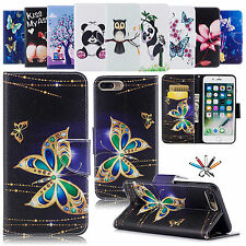 Patterned Leather Card Slot Stand Case Flip Magnetic Cover For iPhone