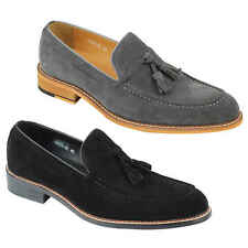 New Mens Vintage Real Genuine Suede Leather Tassel Loafers Retro MOD Shoes Black