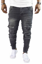 Herren Clubwear Bikerjeans Destroyed Denim Grey Hose Zerissen ST_7028