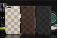 Luxury Fashion Grid Deluxe Leather Wallet Flip Case Cover For Apple ip