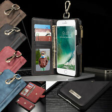 Removable Magnet Leather Wallet  Zipper Card Slot Case Cover For iPhon