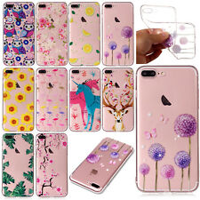 Patterned Soft TPU Clear Slim Rubber Shockproof Case Cover For iPhone