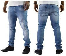 Herren Jeanshose Denim Jeans Biker Destroyed Blau Slim Fit Straight-Cut W29-W38