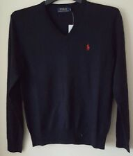 BNWT POLO RALHP LAUREN MENS V NECK MERINO WOOL JUMPER/SWEATER IN NAVY
