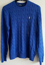 BNWT MENS POLO RALPH LAUREN ROVING CABLE KNIT JUMPER JUMPERS SWEATER IN BLUE