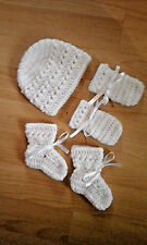 Handmade Crocheted Baby Unisex Xtr Hat/Mitts/Bootees 100%Acrylic Various colours