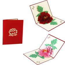 Lovely Peony Flower Pop Up Paper Greeting Card Birthday Festival Gift Postcard