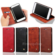 Retro Card Wallet Luxury PU Leather Stand Case Cover for Galaxy / iPho