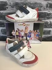 Lea Lelo Boys Casual summer shoe in white leather with Red and grey detail.