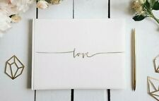 Wedding Guest Book & Box. Ivory Guest Book with 'Love' printed in Gold.