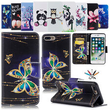 Cute Painted Magnetic Leather Card Stand Flip Case Cover For iPhone 5