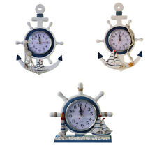 Nautical Sea Theme Wooden Wall Clock Sailing Boat Steering Wheel Fishnet Decor
