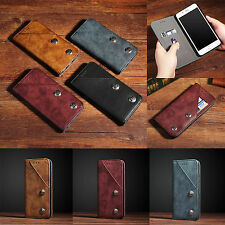 Retro Leather Flip Card Slot Stand Case Cover For iPhone 7Plus & Galax