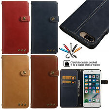 Luxury Magnetic Strap Leather Wallet Card Stand Case Cover For iPhone