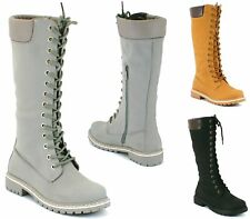 WOMENS LADIES COMBAT ARMY MILITARY LACE UP BLOCK HEEL KNEE HIGH BOOTS SHOES SIZE