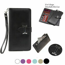 Magnetic Detachable Zipper Removable Leather Card Slot Cover Case for