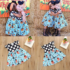 Baby Toddler Girls Polka Dot Cap Sleeve Pleated Casual Dress Halloween Outfits