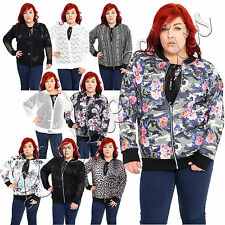 Womens Plus Size Floral Fishnet Ladies Zip Up Long Sleeve Top Coat Bomber Jacket
