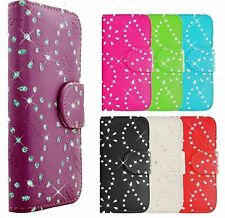 DIAMOND Book Wallet Case Card Holder & Stand For Samsung i9500 Galaxy S4 IV