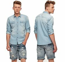 New Mens Castro Jeans  Gents Long Sleeve Denim Shirt Button Fastening Top Casual