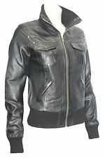 3758 Ladies Bomber Retro Fitted waist Length Black Lambskin Real Leather jackets