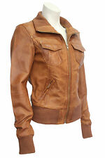3758 Ladies Bomber Retro Fitted waist Length Tan Lambskin Real Leather jackets