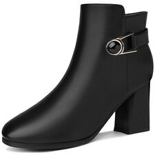 Girls Womens  PU Leather High Heel Wedge Ankle Boots Shoes Zip Chelsea Bootie
