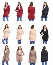 Women's Ladies Long sleeve belted short waterfall trench coat, Jacket plus size