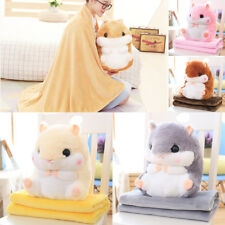 Folding Hamster Bolster Animal Throw Pillow Decor Blanket Pillow Plush Kids Toy