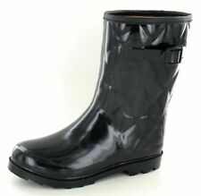 Quilted Short Wellies Festival Rain Snow Style Wellies Black Wellington Boots