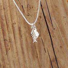 Sterling Silver Cat And Fish bone Charm Pendant Necklace Boxed