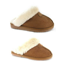 New Mother & Daughter Matching Slippers Chestnut Coloured Warm Faux Fur Lined