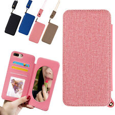 Flip Mirror Leather Card Holder Strap Case Cover For Apple iPhone 6 6s