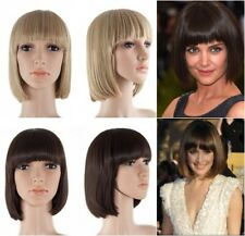 FULL HEAD WOMENS WIG WITH  FULL FRINGE CLASSIC SHORT BOB STYLE SYNTHETIC HAIR