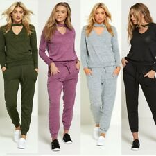 WOMENS CHOKER V NECK TOP & BOTTOM SUIT LOUNGE WEAR CO ORD SET LADIES TRACKSUIT