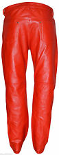 Man Motorbike Red Cowhide Strong 501 Real Leather Jean Pants Trousers