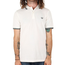 X Fred Perry Twin Tipped Polo Shirt - Snow White / Ivy