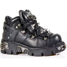 New Rock 110 Metallic Boots Black Leather Gothic Biker Emo Fashion All Size