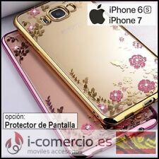 Funda Carcasa Silicona TPU Diamante Flores Metalizado Apple Iphone 6/6S/7 4,7""