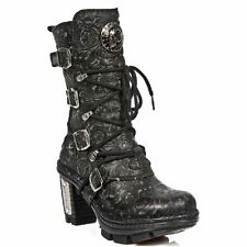 New Rock NEOTR005-S25 Vintage Floral Black Gothic Rock Punk Ladies Leather Boots