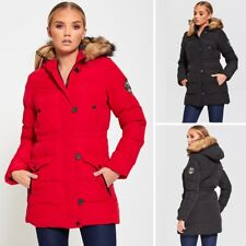 WOMENS QUILTED PADDED JACKET BRAVE SOUL WINTER FAUX FUR HOODED LADIES PARKA COAT