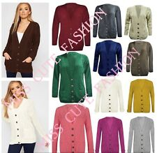 WOMENS KNITTED CARDIGAN LADIES CASUAL BASIC CABLE KNIT BUTTONED GRANDDAD CARDI